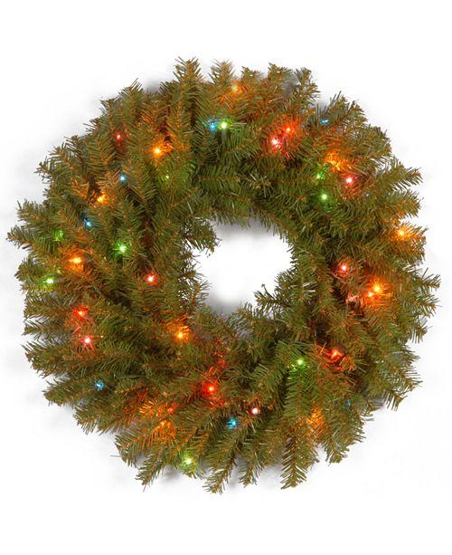 "National Tree Company 24"" Norwood Fir Wreath with 50 Multi Lights"