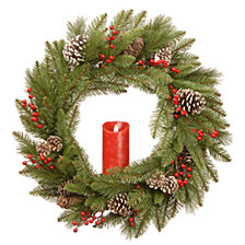 """National Tree Company 24"""" Feel Real®  Bristle Berry Wreath with Red Electronic Candle,   Red Berries &   Cones"""