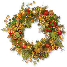 "National Tree Company 24"" Wreath w/ 50 Warm White Battery LED"