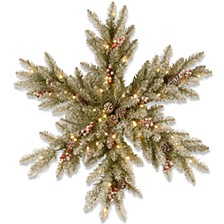 Snowy Dunhill Fir Snowflake with Battery Operated Warm LED Lights