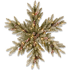 "National Tree Company 32"" Dunhill Fir Snowy Snowflake with Cones, Red Berries &35 Warm White Battery Operated LED Lights w/Timer"