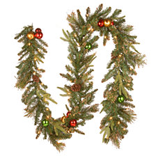 "National Tree Company 9' x 12"" Decorative Collection Garland W/Cones,  Ornanaments, Glitter & 50 Clear Lights"