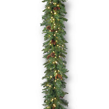 National Tree Company 9' Garwood Spruce Garland with 12 Mixed Cones & 300 Warm White LED Lights