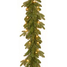 "National Tree 9' x 10"" "" Feel Real"" Avalon Spruce Garland with 50 Clear Lights"