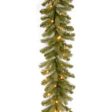 "National Tree Company 9' x 12"" ""Feel-Real"" Downswept Douglas Fir Garland with 70 Warm White LED Lights"