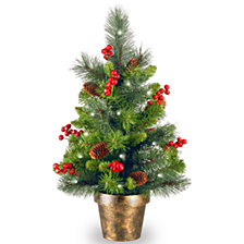 National Tree Company 2' Crestwood Spruce Small Tree with Silver Bristle, Cones, Red Berries and Glitter in a Plastic Bronze Pot with 35 Battery Operated Clear LED Lights