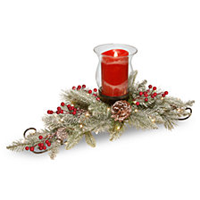 "National Tree Company 30"" Feel Real®  Snowy Bristle centerpiece with one electronic candle, battery operated LED lights, berries and cones"