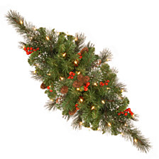 "National Tree Company 30"" Crestwood Spruce Centerpiece with Silver Bristle, Cones, Red Berries, Glitter and Battery Operated LED Lights with Timer"