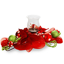 "National Tree Company 30"" Decorative Collection Red Ribbon 1 Candle Holder w/Glass Cup"