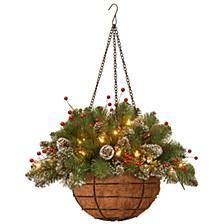 """20"""" Glittery Mountain Spruce Hanging Basket with White Edged Cones, Red Berries and 35 Battery Operated Warm White LED Lights"""