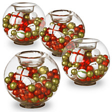 National Tree Set of Four Christmas Glass Candleholders
