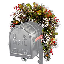 "National Tree 36"" Wintry Pine(R) Mailbox Swag with Battery Operated Warm White LED Lights"