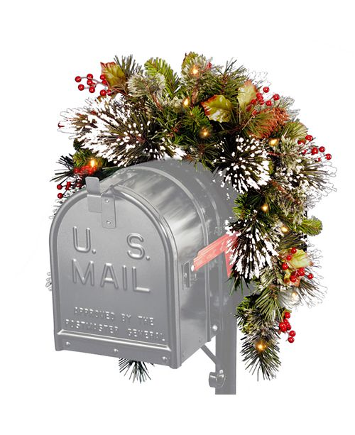 "National Tree Company National Tree 36"" Wintry Pine(R) Mailbox Swag with Battery Operated Warm White LED Lights"