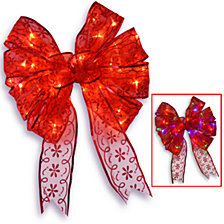 "National Tree 9"" Red Bow Tree Topper with Dual Color LED Lights"