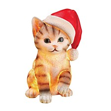 "9"" Christmas Cat with LED Battery Operated Lights"