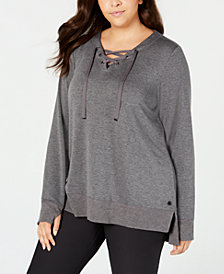 Ideology Plus Size Lace-Up Sweatshirt, Created for Macy's