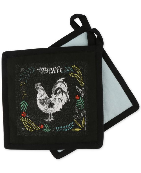 CLOSEOUT! Thirstystone  Set of 2 Rooster Pot Holders, Black, Size: No Size