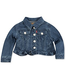 Levi's® Infant Girls Ruffle Trim Denim Trucker Jacket