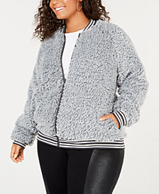 Say What? Trendy Plus Size Fleece Bomber Jacket