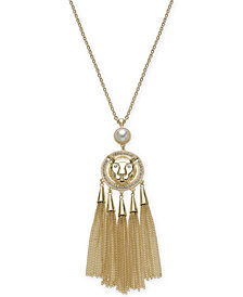 "Thalia Sodi Gold-Tone Pavé Lion, Imitation Pearl & Chain Tassel 30"" Pendant Necklace, Created for Macy's"