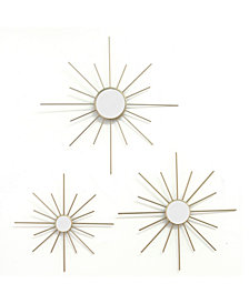 Stratton Home Decor Set of 3 Gold Mirror Burst Wall Decor
