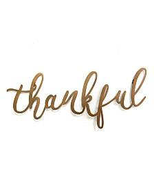 """Stratton Home Decor Bronze """"thankful"""" Script Wall Decor"""