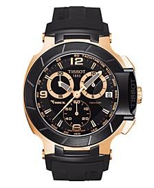 Men's Swiss Chronograph T-Race Black Rubber Strap Watch 50.26mmX45.3mm T0484172705706