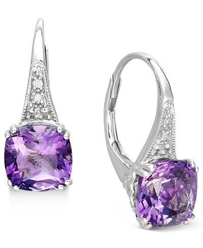 14k White Gold Earrings, Amethyst (2-9/10 ct. t.w.) and Diamond Accent Earrings