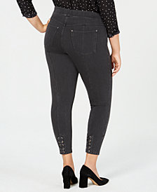 HUE® Plus Size Lace-Up Microsuede Skimmer Leggings