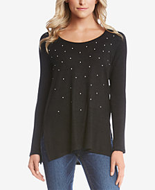 Karen Kane Faux-Pearl Long-Sleeve Top