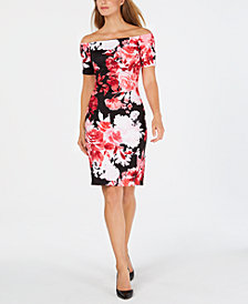 Calvin Klein Off-The-Shoulder Floral Scuba Dress