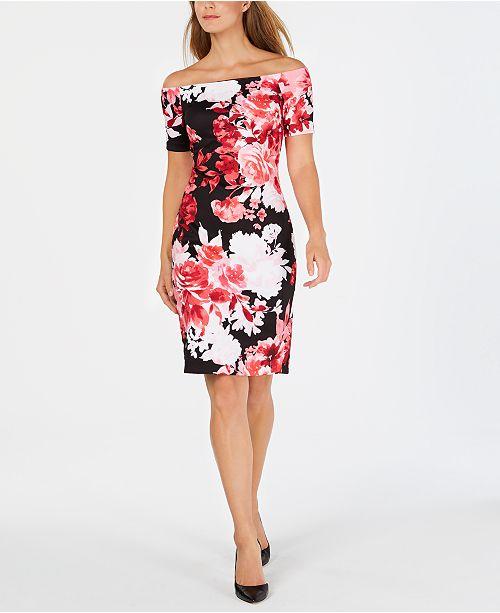 e321cca34361 Calvin Klein Off-The-Shoulder Floral Scuba Dress   Reviews - Dresses ...