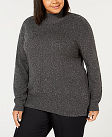 Karen Scott Plus Size Textured Mock Turtleneck Sweater, Created for Macy's