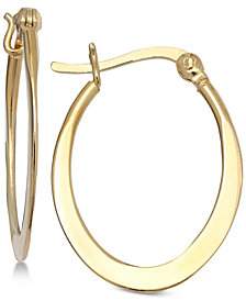 "Giani Bernini Small Flat Oval Hoop Earrings in 18k Gold-Plated Sterling Silver, 1"", Created for Macy's"