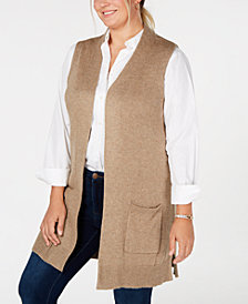 Karen Scott Plus Size Duster Sweater Vest, Created for Macy's