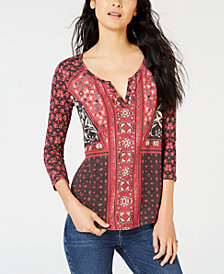 Lucky Brand Floral-Print V-Neck Top