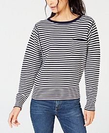 Lucky Brand Cotton Striped Long-Sleeve Top