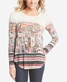 Karen Kane Printed High-Low Portofino Top