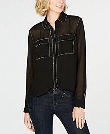 MICHAEL Michael Kors Sheer Rhinestone-Embellished Shirt