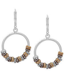 "Nine West Tri-Tone Crystal Beaded Drop 1"" Hoop Earrings"