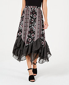 Style & Co Petite Printed Handkerchief-Hem Skirt, Created for Macy's