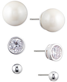 Lauren Ralph Lauren Silver-Tone 3-Pc. Set Crystal & Imitation Pearl Stud Earrings