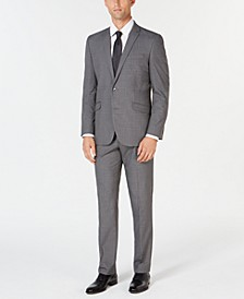 Men's Ready Set Slim-Fit Stretch Light Gray Windowpane Suit