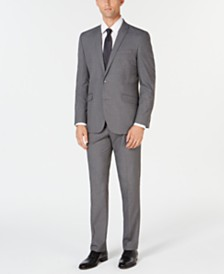 Kenneth Cole Reaction Men's Ready Set Slim-Fit Stretch Light Gray Windowpane Suit