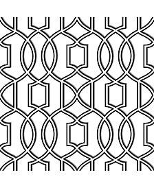 Uptown Trellis Black-White Peel and Stick Wallpaper