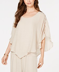 JM Collection Petite Metallic Ring-Trim Top, Created for Macy's
