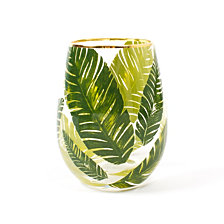 Stemless Wine Glass Botanical Leaf