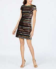 Vince Camuto Sequin-Striped Shift Dress