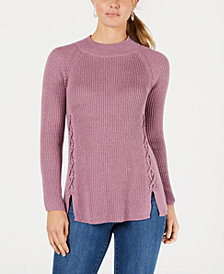 Style & Co Lace-Up Mock-Turtleneck Sweater, Created for Macy's