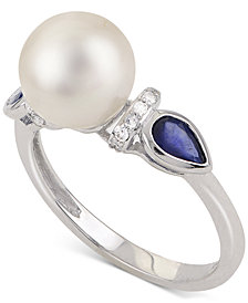Cultured Freshwater Pearl (8-1/2mm), Sapphire and Diamond Accent Ring in 14k White Gold